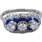 Vintage Art Deco 1920s 18k white gold .70 carat diamond cobalt blue guilloche enamel triple halo ring size 5