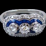 Vintage Art Deco 1920s 18k white gold .70 carat diamond cobalt blue guilloche enamel triple halo ring size 5