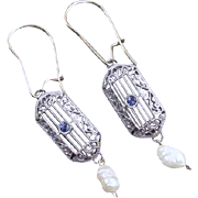 Vintage Art Deco 14k white gold filigree blue sapphire freshwater pearl pierced earrings