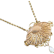 Antique Victorian hand engraved ornate wire work 14k gold pendant necklace with fresh water pearl drop