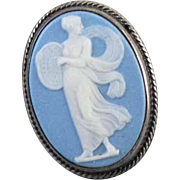 Antique Victorian sterling silver blue jasperware Wedgwood full body cameo large oversized statement ring size 5.5