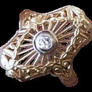 Vintage estate 14k gold filigree .08 carat diamond ring size 6.5
