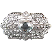 Vintage Art Deco 14k white gold filigree 1.50 carat marquise aquamarine and diamond brooch pin