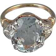 Vintage Art Deco 7 carat oval aquamarine and diamond 10k gold and platinum ring signed Helm & Hahn Co, size 7