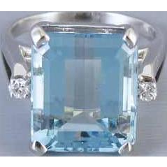 Vintage Retro Moderne 14k white gold 11 carat aquamarine and diamond statement cocktail ring, size 8