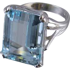 MASSIVE vintage 14k white gold 18.20 ct aquamarine solitaire statement cocktail ring, size 7.5 signed Chalson, Osborne Co.