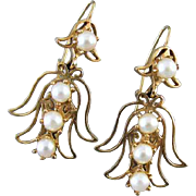 Vintage estate 14k gold genuine cultured pearl angel pierced earrings