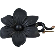 Antique Victorian black jet rose gold filled black enamel memento mori mourning brooch pin j91