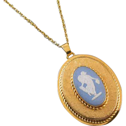 Vintage gold filled blue jasperware Wedgwood full body angel cameo pendant necklace with hidden locket compartment in back signed Van Dell