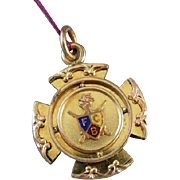 Antique Victorian Knights of Pythias watch fob FCB Pythagorean Brotherhood / secret society / masonic / illuminati / fraternal / fraternity j117