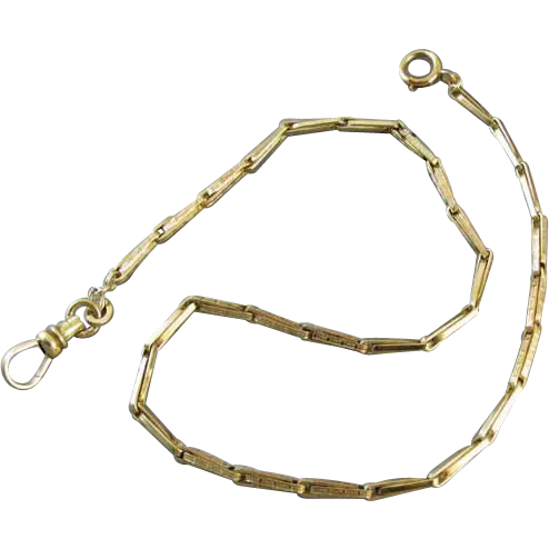 Vintage Art Deco green gold filled pocket watch chain signed A&Z (Hayward) j335