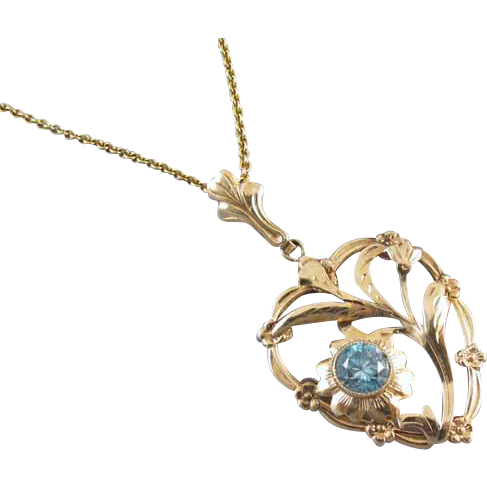 Vintage Retro Moderne heart shaped 10k gold genuine blue zircon pendant necklace signed Esemco Shiman Brothers