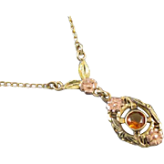 Vintage 1918 Art Deco signed JJ White multicolor 10k gold citrine quartz lavalier pendant necklace