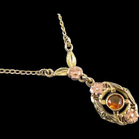 Vintage 1918 Art Deco signed JJ White multicolor 10k gold citrine quartz lavalier pendant necklace