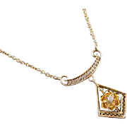 Antique Edwardian 10k gold filigree diamond lavalier pendant necklace buttercup setting