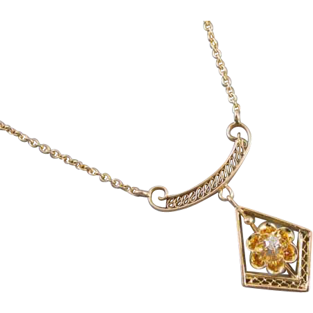 Antique Edwardian 10k gold filigree diamond lavalier pendant necklace buttercup setting