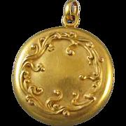 Rare antique Art Nouveau Edwardian 14k gold locket signed H.A. Kirby for pendant necklace
