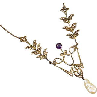 Fantastic antique Edwardian 14k gold seed pearl amethyst and river pearl festoon necklace 8.5 grams