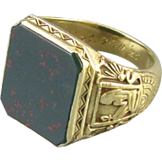 Insanely rare Art Deco 14k green gold Egyptian King Tut mans bloodstone ring signed Larter and Sons dated 1925, size 8.5 HEAVY 12.5 grams