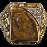 Vintage 1937 Art Deco asymmetrical tiger eye quartz 10k mans cameo ring signed Gothic Kinsley & Sons, size 10