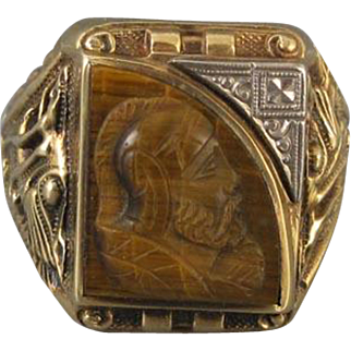 Vintage 1937 Art Deco asymmetrical tiger eye quartz 10k mans cameo ring signed Gothic Kinsley & Sons, size 10