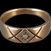 Antique Victorian 10k rose gold diamond wedding band ring, size 8