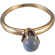 Vintage 10k rose gold moonstone cabochon solitaire ring, Christmas gift 1921, size 5.5
