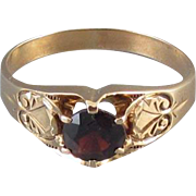 Mans antique Victorian 10k rose gold 1.38 carat garnet solitaire ring, size 12