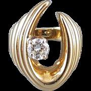 Ultra Modern estate 14k gold .45 carat diamond ring, size 5