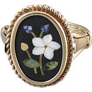 Antique Edwardian Italian 12k gold pietra dura black onyx mosaic inlay flower ring, size 8.5