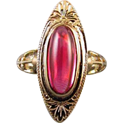 Vintage Art Deco 10k yellow gold filigree synthetic ruby cabochon navette / pinky ring / pinkie ring, size 4