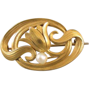Antique Art Nouveau Edwardian 14k bloomed gold seed pearl flower brooch pin / watch pin / hook back / pendant / signed Carter and Co