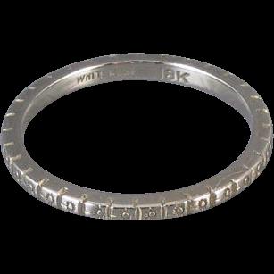 Vintage Art Deco 18k white gold engraved wedding band ring signed White Rose, size 6