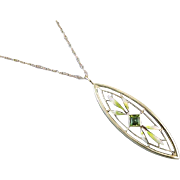 Antique Edwardian 14k gold enamel green peridot pendant necklace