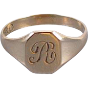 Signed Ostby Barton vintage Art Deco 10k gold / baby ring / childs / midi ring / initial R signet ring, size 1.5