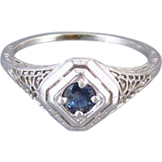 Vintage Art Deco 18k white gold filigree .32 ct. blue sapphire solitaire ring, size 7-1/2