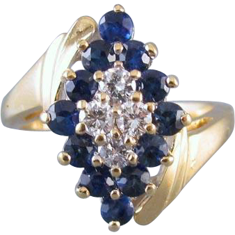 Modern estate 14k gold 1.10ct diamond blue sapphire bypass cluster dinner cocktail ring, size 6-1/2