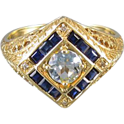 Modern estate 14k gold filigree sapphire aquamarine and diamond ring, size 6