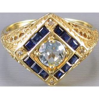 Modern estate 14k gold filigree sapphire aquamarine and diamond ring, size 6