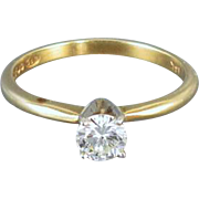 Modern estate 14k gold .35 carat diamond engagement wedding bridal solitaire ring, size 6
