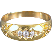 Antique Edwardian 18k gold .12 ct old mine cut diamond wedding band ring, size 8-1/2