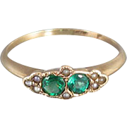 Antique Victorian 10k gold green doublet and seed pearl ring, signed E.M. Weinberg & Company, size 5