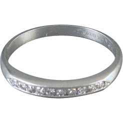 Vintage Art Deco 10 diamond channel set platinum wedding band ring / stacking ring / signed Kaspar & Esh Inc, size 4-3/4