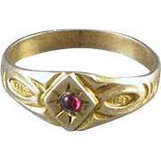 Antique Edwardian 10k gold baby infant child ruby July birthstone signet ring, size 0 zero