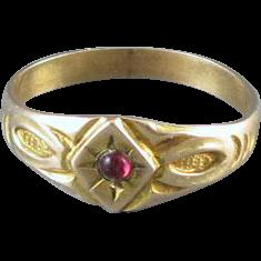 Antique Edwardian 10k gold baby infant child ruby July birthstone signet ring, size 0 zero