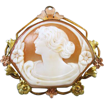 Antique Edwardian gold filled multi color fan shaped cameo brooch pin signed PR ST CO Providence Stock Company