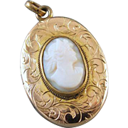 Antique Edwardian gold filled chased pink shell cameo locket signed Wolcott MFG CO j324