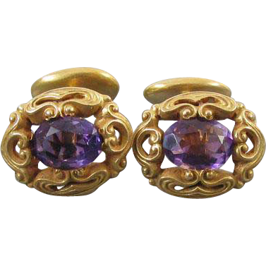 Antique Art Nouveau Edwardian 14k bloomed gold 3.2 carats purple amethyst cuff links unisex