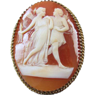 Vintage shell cameo brooch full figure Artemis / Diana / and Apollo gold filled brooch pin pendant signed JH Hobson Company