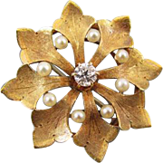 Antique Edwardian 14k gold .12 carat diamond seed pearl textured leaf pin brooch pendant